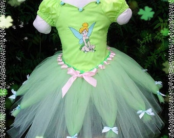 Tinkerbell inspired knee length tutu dress age 3 years