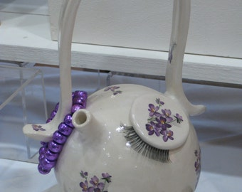 White and Mauve Teapot Pig