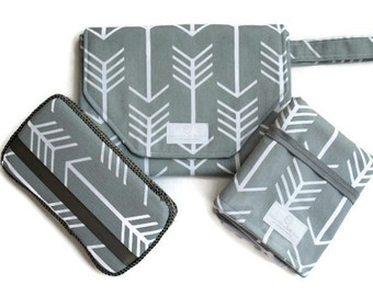 Grey Arrow Diaper Clutch with Matching Travel Changing Pad and Wipes Case - All in 1 Diaper Clutch - Best Seller