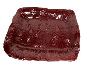 Burgundy Dish, Serving Plate, Cranberry Dish, Fruit Bowl, Maroon Plate, Burgundy Kitchen Decor, Maroon Pottery Bowl, Cranberry Red Kitchen