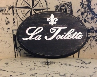 "Adorable Bathroom Sign/ La Toilette (black) (5x7"")"