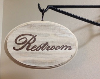 Adorable Restroom sign (cream) (5x7)