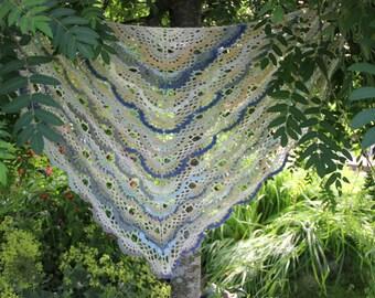 Multicolor chrochet lace shawl, wrap. Handmade. Beige, blue, white.