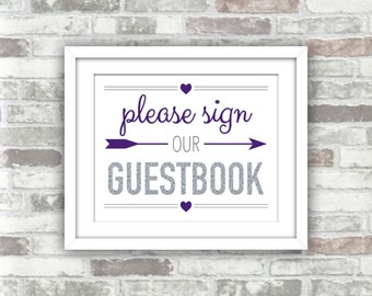 INSTANT DOWNLOAD - Purple and Silver Printable Wedding Guestbook Sign - Digital File - 8x10 - Please Sign out Guestbook - Glitter Effect