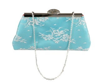 Bridesmaid Gift Clutch, Aqua Blue, White Lace And Calypso Coral Embroidered Bridal Clutch, Mother Of The Bride Gift, Bridal Shower Gift