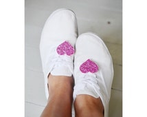 Wedding Sneakers Accessory, Shoe Lace Clips, Small Glitter Shoe Clips Hearts Light Pink, Sneaker Laces