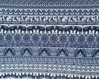 Elephant Indian Ethnic Print Stretchy Fabric by the Yard Poly Spandex Knit