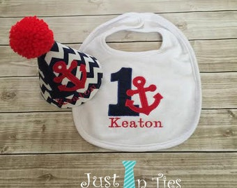 Nautical Personalized Baby Boy Party Hat and BIb