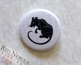 Rat Pinback Button, Magnet, or Keychain, Black Rat Silhouette Pin, Creepy Creatures, Black and White, Halloween Rat Button, Spooky Rat Pin