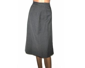 Vintage 1950s Skirt Designer Wiggle Hourgass Gray Skirt Garden Party Rockabilly Mad Man Men Pinup Bombshell Wool Skirt