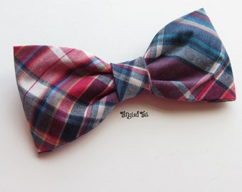 Burgundy, Blue Plaid Bow Tie, Blue and Burgundy Bow Tie, All Sizes
