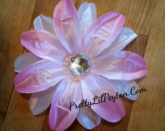 Set of 3, 5 Inch Tropical Lily Hair Clips.  In Pink. White, and Pink & White