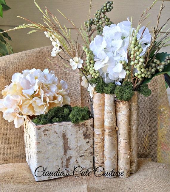 Birch bark vases wood boxes pot planter by claudiascutecouture