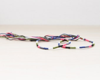 Friendship Bracelet Set Multicolor Embroidery Threads / Black White Blue Pink Green