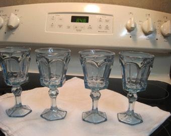 Set Of Four Light Blue Wine Glasses 1970,s