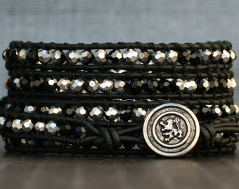 crystal wrap bracelet- silver and black faceted crystals on black leather- beaded leather- boho glam gypsy bohemian