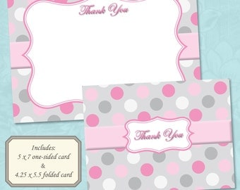 Polka Dot Light Pink and Gray Thank You Card - Instant Digital Download (Print Your Own)