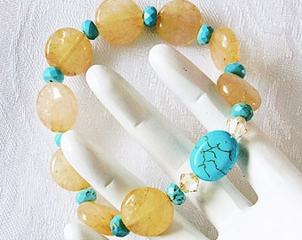 Summer Bracelet, Yellow and blue, Citrine and Turquoise