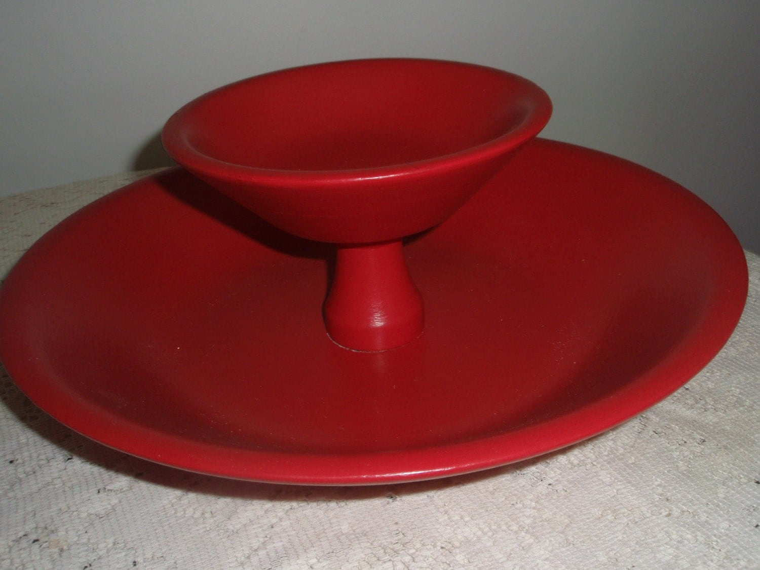 Two tiered wood bowl solid wood bowl painted red red party - Tiered fruit bowl ...