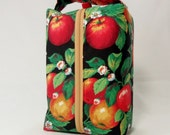 Apple Orchard Large zippered Box Tote - knitting / crochet / spinning project bag