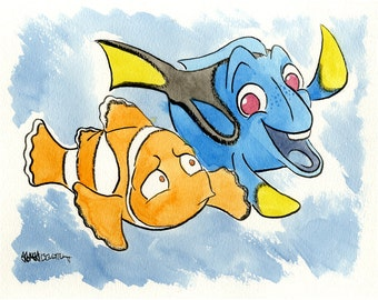 Finding Nemo, Marlin and Dory, Original Ink and Watercolor Painting