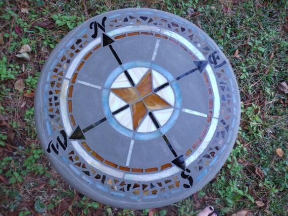 Which Way Do I Go Compass Mosaic Stepping Stone Garden Art