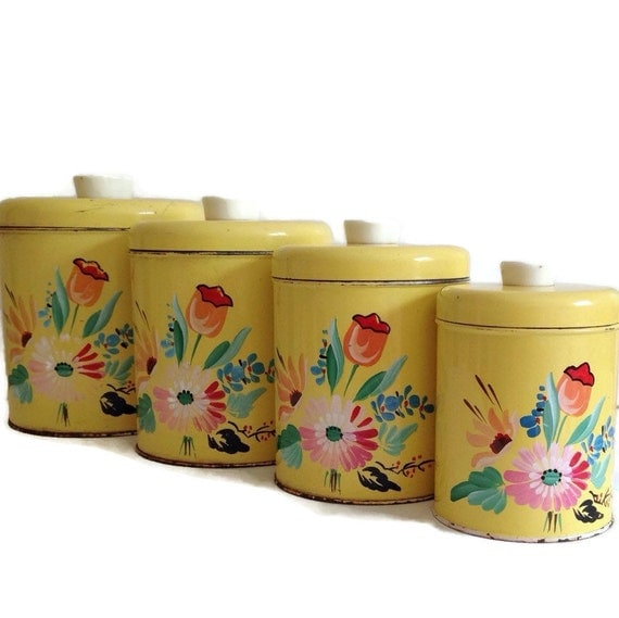 kitchen storage tin canisters yellow flowers 4 nesting canister set