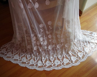 ivory  Lace fabric, Embroidered mesh lace fabric with hollowed out floral