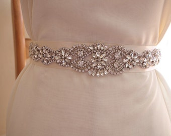 bridal sash applique, rhinestone belt applique