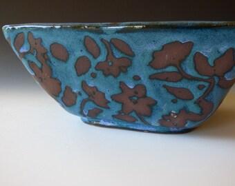 square smoky teal flowery bowl