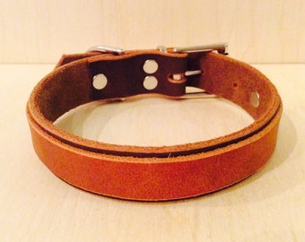 Handmade Leather Dog Collar Two Tone
