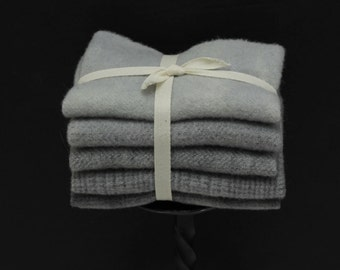 Charcoal Grey Hand-dyed Wool Bundle for Rug Hooking, Applique