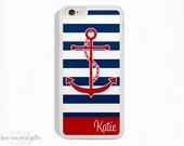 iPhone 6 Case, iPhone 6 Plus Case, iPhone 5s Case, iPhone 5c Case, Navy Stripe and Red Anchor, Monogram Gift (337)