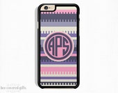 iPhone 6s Plus Case, iPhone 6s Case, iPhone 5s Case, iPhone 5c Case, Pink Purple Tribal Print, Monogram Gift (039)