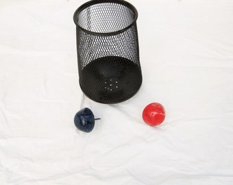 Golf or Frisbee Storage - Sports Stuff - Metal Trash Basket - Two Course Markers - Black Patterned Basket  - Golf Markers - Frisbee