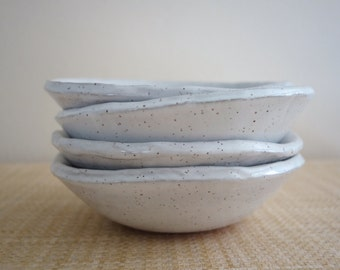 Cereal or Salad Bowls - Set of Four - Speckled White Pottery