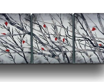 """66"""" Red Black and white painting maple leaves painting landscape painting large Acrylic canvas Art black and white art by Sami"""