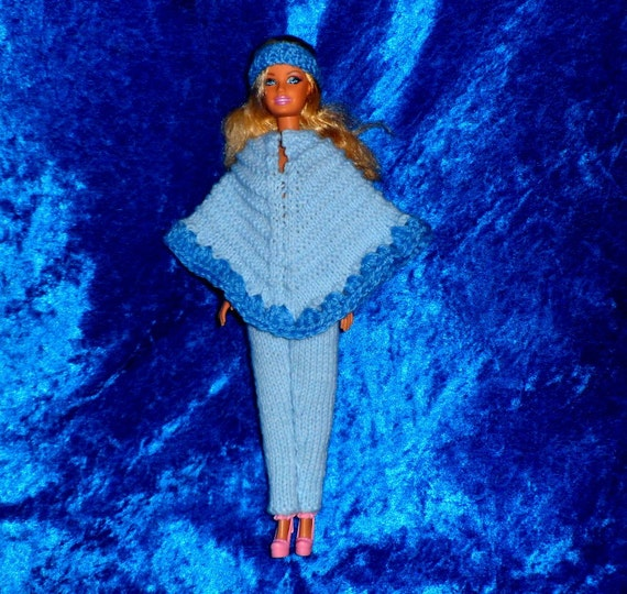 Knitting Pattern Doll Poncho : BARBIE DOLLS CLOTHES. Knitting Pattern for a by KALIFASHIONS