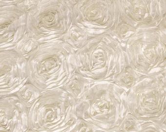 Ivory Satin Rosette Fabric, Floral Satin Fabric, 3D Rosette Fabric by the yard, Rosette Fabric Flower Satin- Style 1601