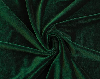 Hunter Green Stretch Velvet Fabric by the yard or wholesale  - 1 Yard Style 1001