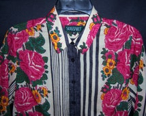 Vintage Souleiado Pink Green Black Rose Floral Flower Print Border Blouse Shirt 42 Medium 10