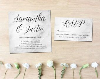Marble wedding invite, Black and White Invitation Suite, Black and White Wedding