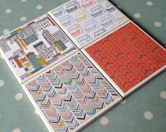 Kitch retro car tile coasters set of 4