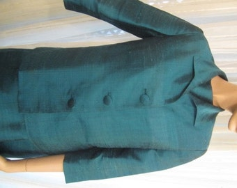 Vintage Turquoise Raw Silk Belted Dress with Matching Jacket, ca 1960s