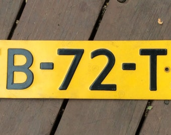 Vintage European License Plate in Yellow/Yellow European License Plate