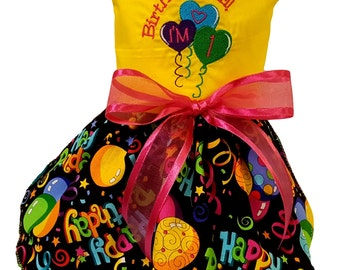 Dog dress, Yellow Birthday and Balloons