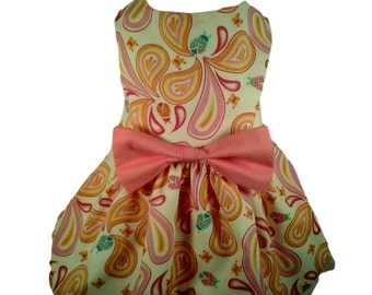 Dog Dress, Dog Clothing, Dog Wedding Dress, Pet Clothing, Pet Dress-Pink Paisley