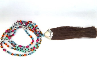 Boho Tassel necklace with hand knotted colourful beads