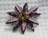 Large Statement Estate Piece, Multi Use Pin or Pendant, Rhinestones, Amethyst, Light & Dark Topaz with Enameled Purple -  BreezyTownship 023