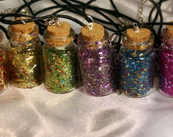 Chunky glass glitter magical bottle necklaces
